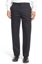 Nordstrom Men's Big And Tall Men's Shop Smartcare Tm Classic Supima Cotton Flat Front Trousers Black Caviar