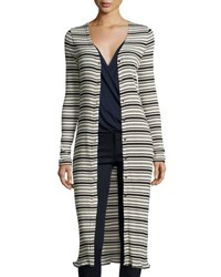 Three Dots Long Snap Front Striped Cardigan Black Pattern