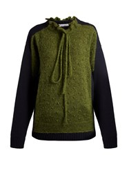 J.W.Anderson Panelled Lambswool Blend Sweater Green Multi
