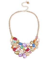 Betsey Johnson Gold Tone Multicolor Stone And Crystal Collar Necklace