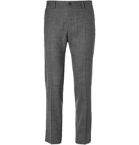 Dolce And Gabbana Slim Fit Tapered Checked Virgin Wool Blend Trousers Gray
