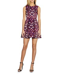 Cynthia Rowley Sleeveless Floral Printed Fit And Flare Dress Burgundy