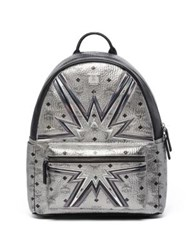 Mcm Stark Cyber Flash Medium Coated Canvas Backpack Silver