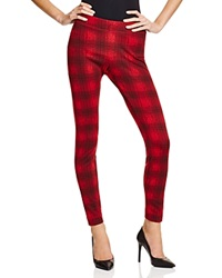 Aqua Plaid Leggings Red Black