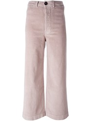 Masscob Flared Cropped Trousers Pink And Purple