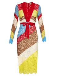 Preen Anoushka V Neck Lace Dress Multi