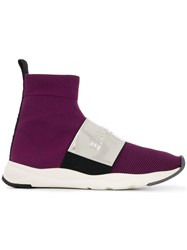 Balmain Cameron Hi Top Sneakers Purple
