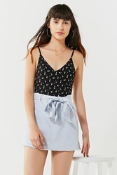 Urban Outfitters Uo Twill Frayed Mini Skirt Sky
