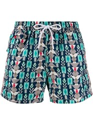 Kiton Printed Swim Shorts Blue