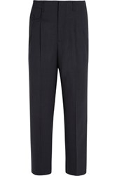 Golden Goose Deluxe Brand Sally Pinstriped Wool Wide Leg Pants Midnight Blue