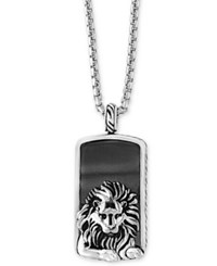 Effy Men's Hematite 36 X 20Mm Lion Dog Tag Pendant Necklace In Sterling Silver Black
