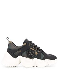 Philipp Plein Camouflage Low Top Chunky Sneakers Green