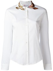 Red Valentino Collar Bird Patch Shirt White