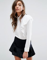 Miss Selfridge Ruffle Shirt White