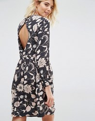 Gat Rimon Moco Open Back Long Sleeve Flower Print Dress Noir Black