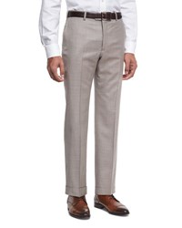 Armani Collezioni Wool Textured Trousers Light Tan Brown