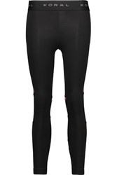 Koral Mesh Paneled Stretch Jersey Leggings Black