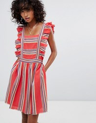 D.Ra Malibu Ruffle Front Dress Southwestern Stripe Red