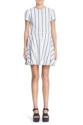 Opening Ceremony Striped Fit And Flare Mini Dress White