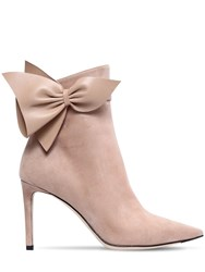 Jimmy Choo 85Mm Cassidy Bow Suede Ankle Boots Nude
