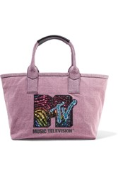 Marc Jacobs Leather Trimmed Embellished Cotton Twill Tote Pink