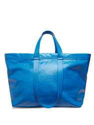 Balenciaga Carry Medium Creased Leather Tote Blue