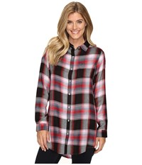 Jag Jeans Magnolia Tunic In Yarn Dye Rayon Plaid Pink Plaid Women's Clothing