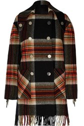 Calvin Klein 205W39nyc Pendleton Double Breasted Fringed Checked Wool Coat Black