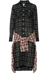 R 13 R13 Grunge Wrap Effect Checked Wool Blend Gauze Dress Black