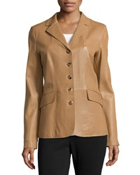 Escada Five Button Leather Peplum Jacket Camel