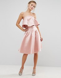 Chi Chi London Occasion Midi Skirt In Satin Co Ord Pink