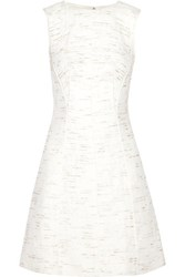 Oscar De La Renta Metallic Flecked Wool Blend Tweed Dress White
