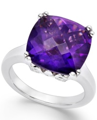Macy's Amethyst Cocktail Ring In Sterling Silver 7 Ct. T.W.