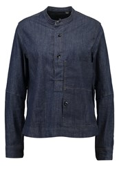G Star Gstar Stalt Granddad Shirt L S Blouse Lt Wt Stretch Denim Rinsed Denim