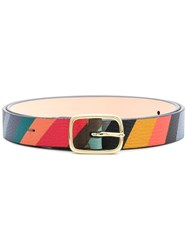 Paul Smith Black Label Striped Buckle Belt Blue
