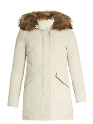 Woolrich Luxury Arctic Fur Trimmed Padded Parka Cream
