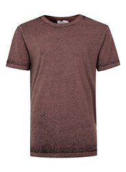 Topman Dark Pink And Black Burnout Wash Longline T Shirt