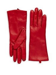 Saks Fifth Avenue Polished Leather Gloves Cherry