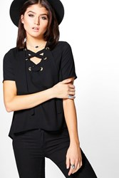 Boohoo Woven Lace Up Short Sleeve T Shirt Black