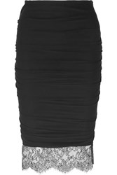 Tom Ford Lace Trimmed Ruched Stretch Crepe Skirt Black