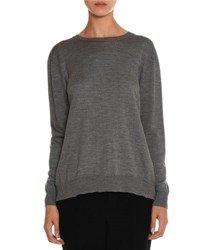 Miu Miu Crewneck Sweater W Gingham Bow Back Gray