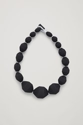 Cos Fabric Covered Bead Necklace Black
