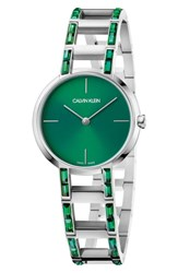 Calvin Klein Cheers Swarovski Bracelet Watch 32Mm Silver Emerald Green