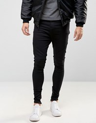 Religion Drop Crotch Jean With Biker Knee Detail And Zip Ankle Black