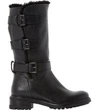 Dune Robby Faux Fur Lined Leather Boots Black Leather