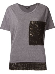 Uma Lace Panels T Shirt Grey