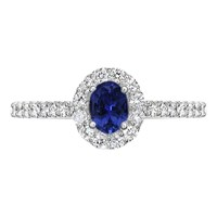 Ewa 18Ct White Gold Oval Sapphire And Diamond Cluster Engagement Ring