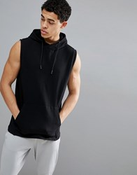 Your Turn Yourturn Active Sleeveless Hoodie In Black
