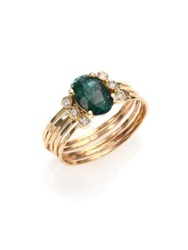 Jacquie Aiche Green Tourmaline Diamond And 14K Yellow Gold Multi Row Waif Ring Gold Green