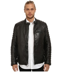Marc New York Broadway Bubble P U Moto Jacket W Quilted Sleeve Detail Black Men's Coat
